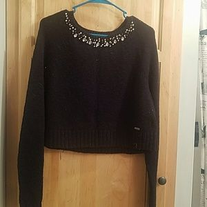 Jeweled crop sweater